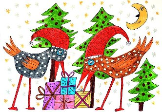 Two colorful birds bending over christmas presents, white background, naive illustration, Germany