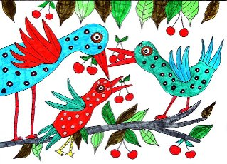 Three colorful birds with cherries, white background, naive illustration, Germany
