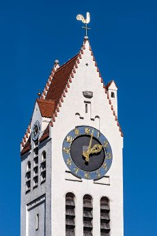 Bell tower with tower clock, Erlöserkirche in the style of historicism and art nouveau, Schwabing, Munich, Upper Bavaria, Bavaria, Germany