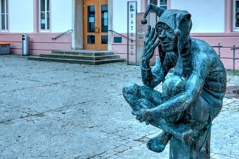Fool sculpture, Ehingen, Baden-Württemberg, Germany