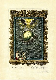 Job 38\/4, 5, 6, THE earth God\'s art building, picture plate 529 from Physica sacra or Copper Bible by Johann Jakob Scheuchzer (1672-1733