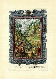Book of Kings 5\/13-17, Solomon\'s Workmen in Lebanon, pictorial plate 419 from Physica sacra or Copper Bible by Johann Jakob Scheuchzer (1672-1733), Scheuchzer takes the Bible as a reference point for describing human history and