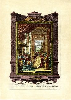 Book of Chronicles 28 (29) II, 12, 13, Solomon Receives the Temple Model, pictorial plate 498 from Physica sacra or Copper Bible by Johann Jakob Scheuchzer (1672-1733