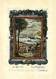 Book of Kings 9\/11, 14, 28, The Ophirian Gold Fleet, plate 458 from Physica sacra or Copper Bible by Johann Jakob Scheuchzer (1672-1733