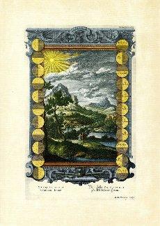 Joshua 10\/12, 13, 14, The still standing sun, plate 361 from Physica sacra or Copper Bible by Johann Jakob Scheuchzer (1672-1733