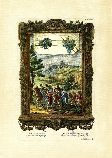 Book of Numbers, 13\/24, Grape-bearing Scouts, plate 304 from Physica sacra or Copper Bible by Johann Jakob Scheuchzer (1672-1733