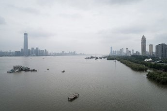 An aerial view of the Yangtze River after the flood peak goes through Wuhan city, central China\'s Hubei province, 13 July 2020. Local Caption