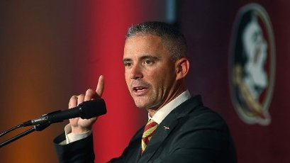 Florida State head football coach Mike Norvell speaks during his introductory news conference in Tallahassee, Fla. (Matt Baker/Tampa Bay Times/TNS)