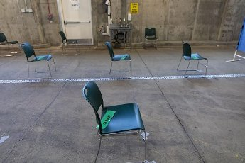 Chairs in the waiting area of the converted ambulance bays Tuesday, April 7, 2020 at Rush University Medical Center during the coronavirus pandemic. (Brian Cassella/Chicago Tribune/TNS)