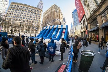 Hundreds line up in Herald Square in New York at a Oreo cookie brand activation on Friday, February 21, 2020. Visitors participated in a âWhatâs Your Stuf?â campaign where by picking a slide you voted for your preferred level of filling in the cookies. (Â Richard B. Levine)