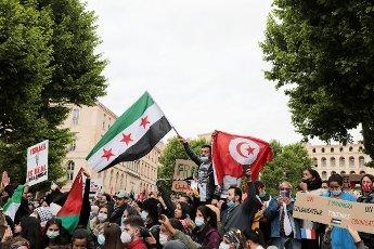 PHOTOPQR\/LA PROVENCE\/VALERIE VREL ; Marseille ; 15\/05\/2021 ; Manifestation en soutien à La Palestine, et au peuple palestinien bombardés depuis quelques jours par le gouvernement israélien, les territoires palestiniens, notamment la bande de Gaza