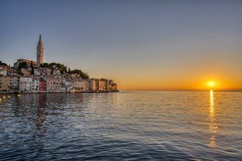 The beautiful old town of Rovinj in Croatia before sunset