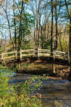 A Wooden Bridge Going Over a Small Stream on a Clear Autumn Day at Valley Forge National Historical Park