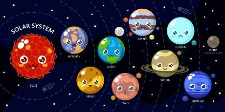 Kawaii Planets With Different Faces. Solar System