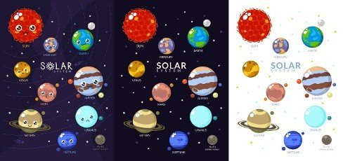 Three Variants Of Solar System With Cartoon Planets.