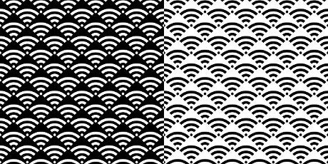 Black And White Seamless Wi Fi Pattern Vector Illustration