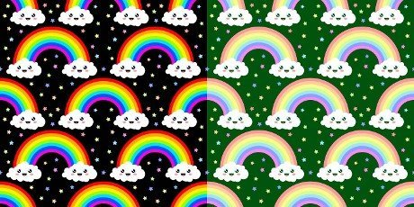Two Variants Of Funny Kawaii Rainbow Seamless Pattern Vector Illustration