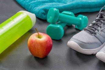 Fitness equipment on a dark background