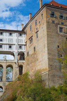 Famous castle bridge in Cesky Krumlov,  Czech republic,  Europe.