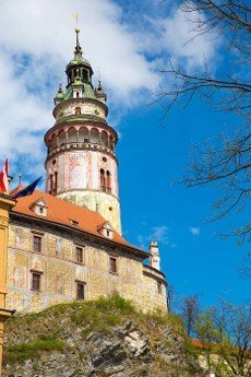 Famous castle in Cesky Krumlov,  Czech republic,  Europe.
