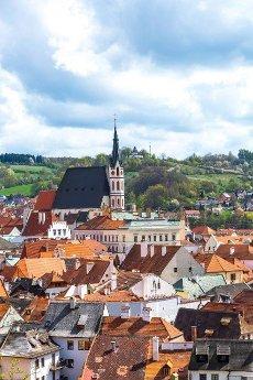 View over Cesky Krumlov in Bohemia,  Czech Republic,  Europe.