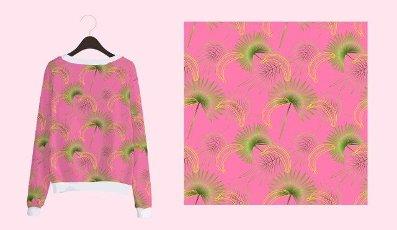 Trendy pattern with bright pink print palm on pink background. Trendy summer hawaii print. Elegant modern. Fashion print.