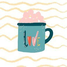 Lettering love cup in sketch style on white background. Printing vector graphics. Drawing style. Cartoon style. Isolated vector. Vector text.