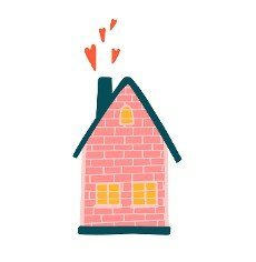 sweet house. pink house. hearts fly out of the pipe. home comfort and coziness. family harmony. love. date.