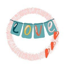Word love in paper art style. Vector template. Isolated vector icon. Vector background. Decorative symbol. Beautiful color. Greeting card template