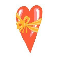 Red heart with bow for medical design. Celebration banner.