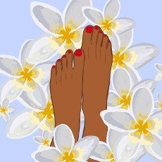 Well-groomed female feet in beautiful style on soft background.