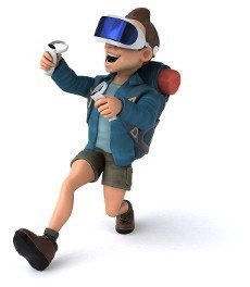 Fun 3D Illustration of a backpacker with a VR Helmet