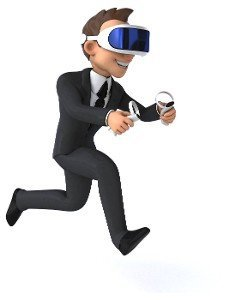 Fun 3D illustration of a cartoon businessman with a VR helmet