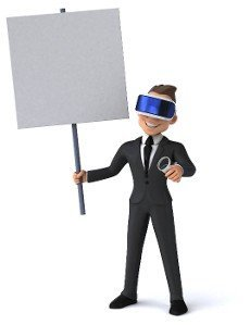 Fun 3D illustration of a cartoon businessman with a VR helmet