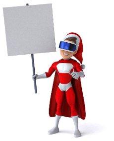 Fun 3D Illustration of a super Santa Claus with a VR Helmet
