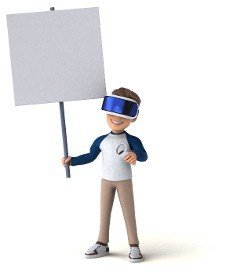 Fun 3D illustration of a cartoon kid with a VR helmet