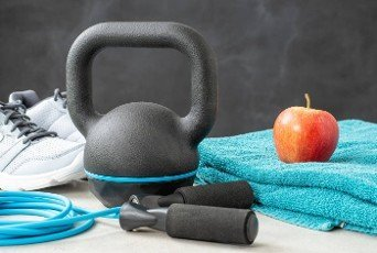 Fitness equipment on a dark background
