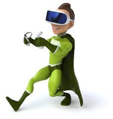 Fun 3D Illustration of a superhero with a VR Helmet