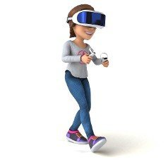 Fun 3D Illustration of a teenage girl with a VR Helmet