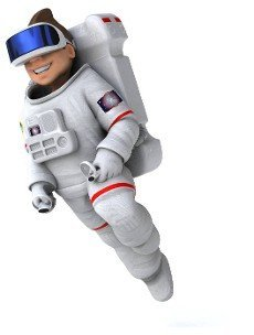 Fun 3D Illustration of an astronaut with a VR Helmet
