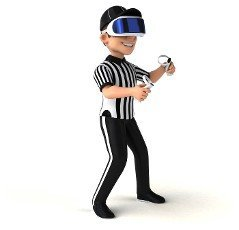 Fun 3D Illustration of a referee with a VR Helmet