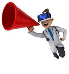 Fun 3D Illustration of a doctor with a VR Helmet
