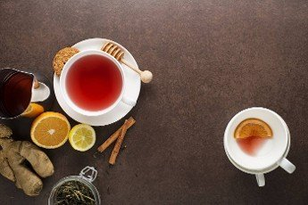 Tea with fruit,  herbal and other spicy lemon ginger root. Healthy Tea Ingredients