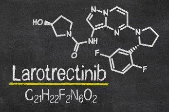 Blackboard with the chemical formula of Larotrectinib