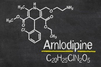 Blackboard with the chemical formula of Amlodipine
