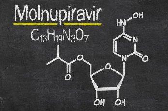 Blackboard with the chemical formula of Molnupiravir