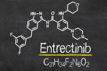 Blackboard with the chemical formula of Entrectinib