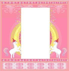 Fairytale frame with unicorns  - birthday card