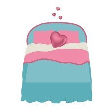 Bridal bed. Vector illustration design. Romantic vector. White background. Love symbol.