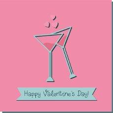 Valentine\'s day square card. glasses with martini. Hearts. Romantic poster. Vector illustration.